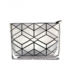 Black Silver Geometric Diamond Bag Shoulder Bag Crossbody Bag Chain Bag Black