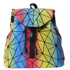 Luminous Folded Dazzling Geometric Diamond Rainbow Backpack Color