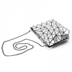Silver Geometric Diamond Bag Folding Chain Women's Bag Shoulder Bag Crossbody Bag Silver