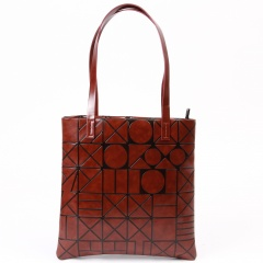 Brown Geometric Diamond Shoulder Handbag Large Bag Brown