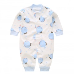 Newborn Baby Clothes Blue Whale Print Baby Boy Romper Warm Infant Baby Boy Girl Jumpsuit Pajamas Blue Whale 0-3 Months(59)