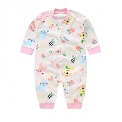 Newborn Baby Clothes Bird & Flower Print Baby Boy Romper Warm Infant Baby Boy Girl Jumpsuit Pajamas Bird & Flower&Cat 0-3 Months(59)