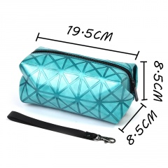 Blue Geometric Diamond Makeup Bag In Hand Blue