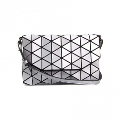 Geometric Ringer Matte Brushed Envelope, Shoulder Bag, Crossbody Bag 26*17cm Silver