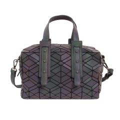 Geometric Diamond Color-changing Bag Single Shoulder Cross-body Luminous Pillow Bag Handbag 26*17*13cm Tree leaf veins