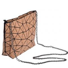 Geometric Ringle Cork Chain Bag Shoulder Bag Crossbody Bag Brown