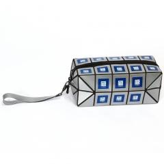 Geometric Diamond Long Square Makeup Bag Hand Bag Silver