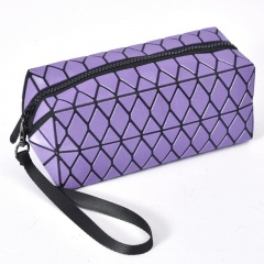 Purple Geometric Ringer Square Portable Cosmetic Bag Laser Travel Pack Waterproof Wash Bag Hand Bag 20*8.5*8.5cm