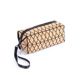 Geometric Diamond Laser Zipper Clutch Bag 19.5*8.5*8.5cm Brown