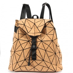 Geometric Rhombic Cork Backpack 34.5*32*13.5cm Brown