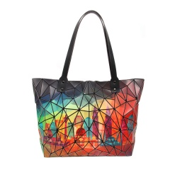 Geometric Rhombic Hand Bucket Bag 43*29*12cm Colourful