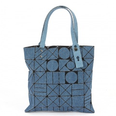 Triangle geometric Ringer Hand Bucket Shoulder Messenger  Jean Bag 32*32cm Wathet blue