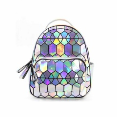 The Silver Geometric Diamond Backpack Holds The Traveling Student Backpack 27.5*21.5*11.5cm Hexagon