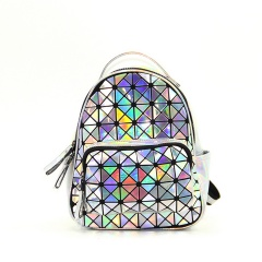 The Silver Geometric Diamond Backpack Holds The Traveling Student Backpack 27.5*21.5*11.5cm The triangle model