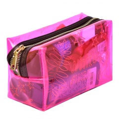 Rose Red Translucent Zipper Bag For Cosmetic Storage 16*11*8cm Flower