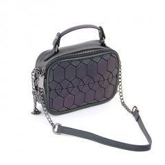 Geometric Ringer Luminous Laser Bag Single Shoulder Crossbody Bag 20*14.5*7cm Hexagon