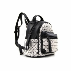 Geometric Rhombogram Printed Zipper Rucksack For Travel Storage 20.5*19*10.5cm white