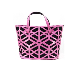 Geometric Pink Diamond Hollow-out Jelly Handbag 37*25*12.5cm Pink