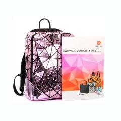 Geometric Ringer Water Bag Outdoor Travel Backpack Laser Backpack 31*24.5*14.5cm Pink