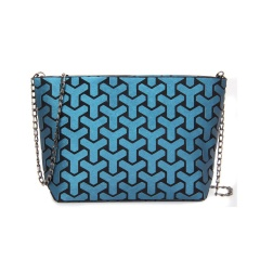 Geometric Ringer Chain Single Shoulder Bag Cross-body Bag 28*18*7.5cm dark blue