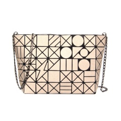 Geometric Ringer Chain Single Shoulder Bag Cross-body Bag 28*18*7.5cm Brown geometric