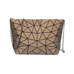 Geometric Ringer Chain Single Shoulder Bag Cross-body Bag 28*18*7.5cm Brown triangle