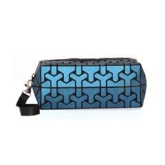 Geometric Diamond folding bag Cosmetic storage bag Hand bag 19.5*8.5*8.5cm Dark blue