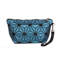 Geometric Ringer zipper wallet cosmetic bag hand bag 24*12*8cm Light blue flowers