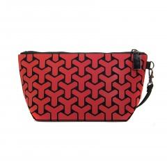 Geometric Ringer Zipper Purse Cosmetic Storage Bag Hand Bag 24*12*8cm Red