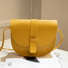 New Semicircle shape Women bag Solid Color Imitation Leather shoulder bag croosbody bag fashion simple youth handbag Yellow