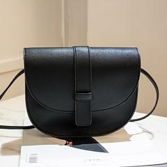 New Semicircle shape Women bag Solid Color Imitation Leather shoulder bag croosbody bag fashion simple youth handbag Black