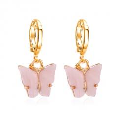 Boho Butterfly Acrylic Earrings Elegant Women Dangle Drop Earring Jewellery Gift Pink