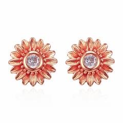 Fashion 18k Gold Daisy Sunflower Cubic Zirconia Stud Earrings Women Jewelry Gift Rose Gold