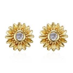Fashion 18k Gold Daisy Sunflower Cubic Zirconia Stud Earrings Women Jewelry Gift Gold