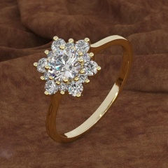 Size 7 Fashion Snowflake Zircon Crystal Ring Gold Band Women Finger Knuckle Hot Snow