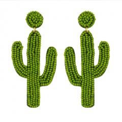 Women Glass Seed Bead Tassel Stud Earrings Drop Dangle Fashion Earrings Jewelry Cactus