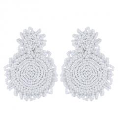 Women Glass Seed Bead Tassel Stud Earrings Drop Dangle Fashion Earrings Jewelry Circle