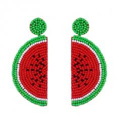 Women Glass Seed Bead Tassel Stud Earrings Drop Dangle Fashion Earrings Jewelry Watermelon