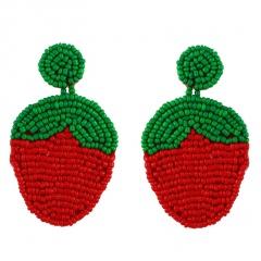 Women Glass Seed Bead Tassel Stud Earrings Drop Dangle Fashion Earrings Jewelry Strawberry