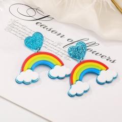 Cute Larger Acrylic Stud Colorful Earrings Rainbow