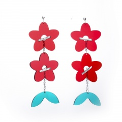 Cute Larger Acrylic Stud Colorful Earrings Double Flower