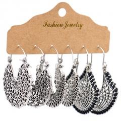 3pair/set Retro Geometric Tassel Turquoise Earrings Set Women Girls Drop Hook Jewelry Sector