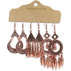 3pair/set Retro Geometric Tassel Turquoise Earrings Set Women Girls Drop Hook Jewelry Gold Tassel