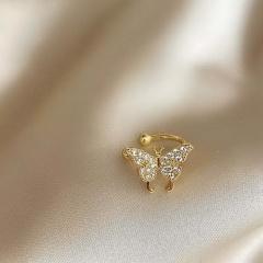 Crystal Gold Silver Butterfly Ear Cuff Clip Stud Earrings Jewelry Gift Elegant Gold