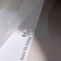Silver single double butterfly earrings ER20Y0052-2