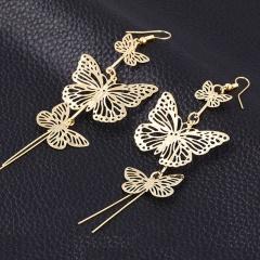 Multi-layer Gold Tassel Butterflys Hollow Earrings Dangle Drop Women Jewelry Gold