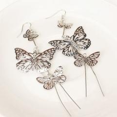 Multi-layer Gold Tassel Butterflys Hollow Earrings Dangle Drop Women Jewelry Silver