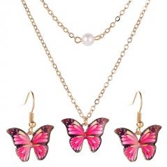 Fashion Butterfly Enamel Choker Necklace Pendant Earrings Jewelry Set Wedding Red