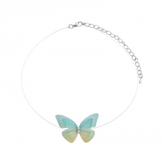White Butterfly Necklace Pendant Clavicle Chain Sweet Women Girls Jewelry Charm Green