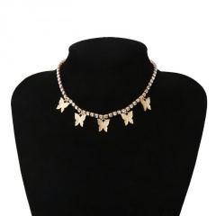 Fashion Butterfly Tassel Pendant Necklace Clavicle Crystal Chain Choker Collar Yellow